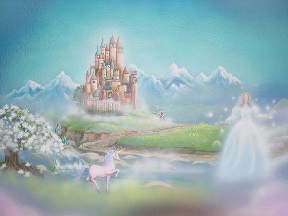 Beautiful fairytale wall mural iszabella fairytale for Fairy castle mural