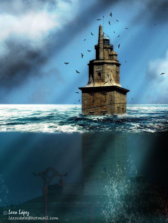 torre bajo el oceano