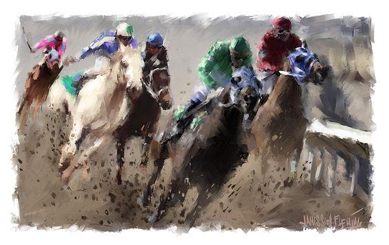 Turning to Thunder-horse race painting