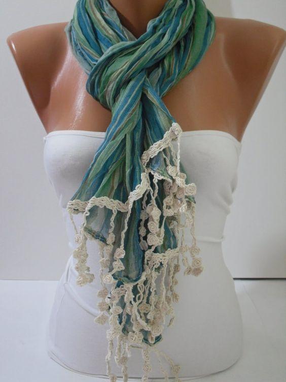 Green Elegance Shawl Scarf by DIDUCI on Etsy, $17.90