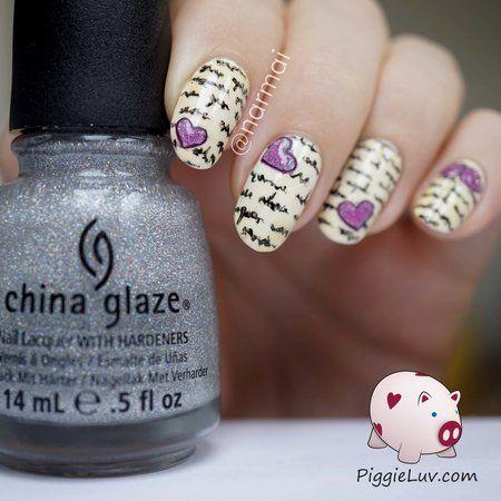 Love letter nail art #Tutorial #chinaglaze #glitter