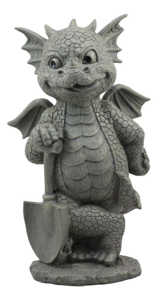 Whimsical Garden Dragon With Shovel Statue 11 5 H Gardening Green Thumb Dragon Whimsical Garden Statue Green Thumb