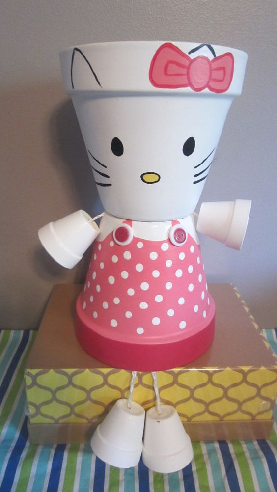 10 Planter Pot Person Pot People Hello Kitty by GARDENFRIENDSNJ: