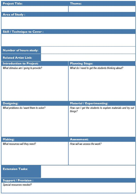 Planning art \ design projects lesson plan template ideas - assessment plan template