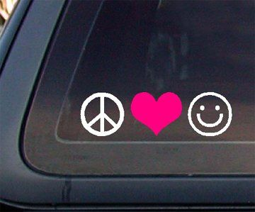 Peace Love Happiness with PINK Heart Car Decal / Sticker