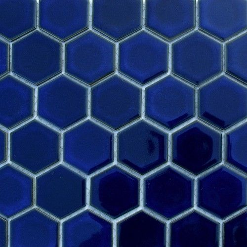 Navy Hexagon Bathroom Tiles