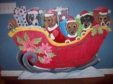 GIANT! WEENIE DOG SLEIGH CHRISTMAS YARD ART DACHSHUND HAND PAINTED