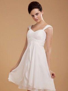 Robe de mariée Simple Courte Empire Mousseline Blanche Plis Plage ...
