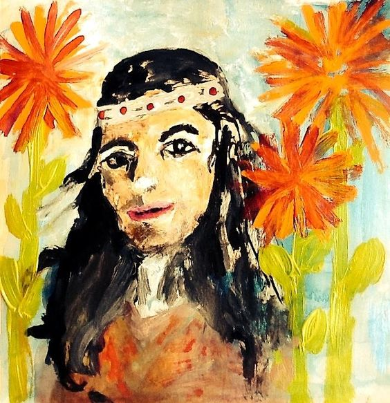 Lisa In The Flowers Painting