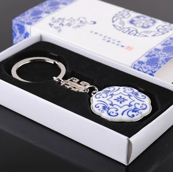 2014 Business Gifts  Chinese blue and white porcelain keychain retro style Free Shipping $5.25