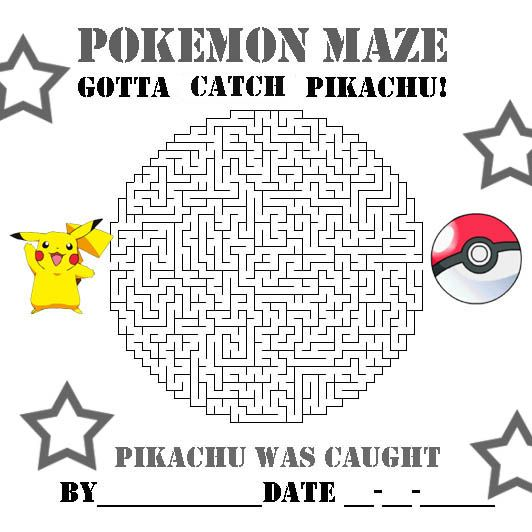 POKEMON COLORING PAGES PIKACHU AND POKEBALL MAZE