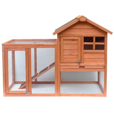 Merax Wooden Rabbit Hutch with Fence and Ramp