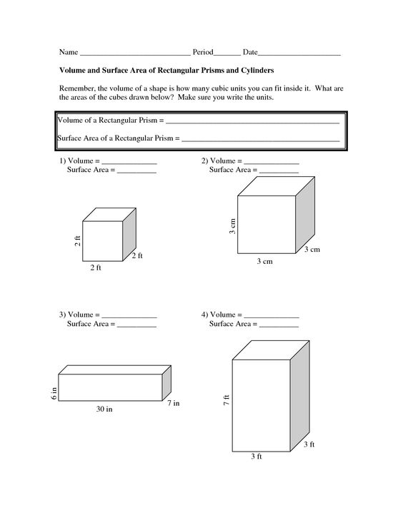 Worksheet Surface Area Worksheet area worksheets surface and on pinterest volume doc