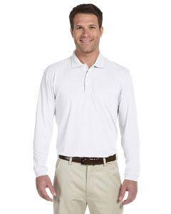 Harriton 5.6 oz. Easy Blend™ Long-Sleeve Polo M265L WHITE