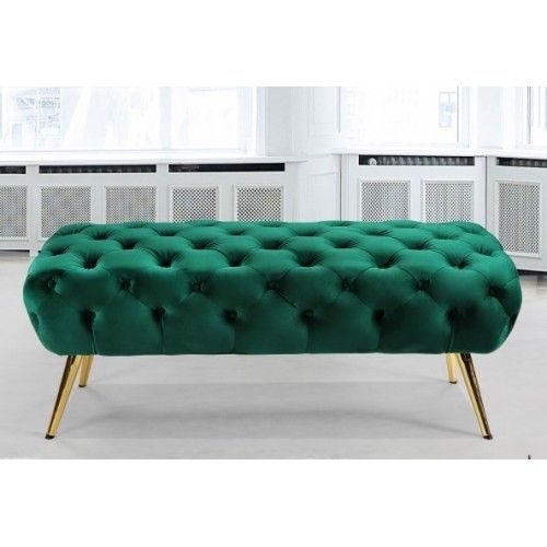 Admirable Green Velvet All Over Tufted Ottoman Bench Gold Pencil Legs Pdpeps Interior Chair Design Pdpepsorg