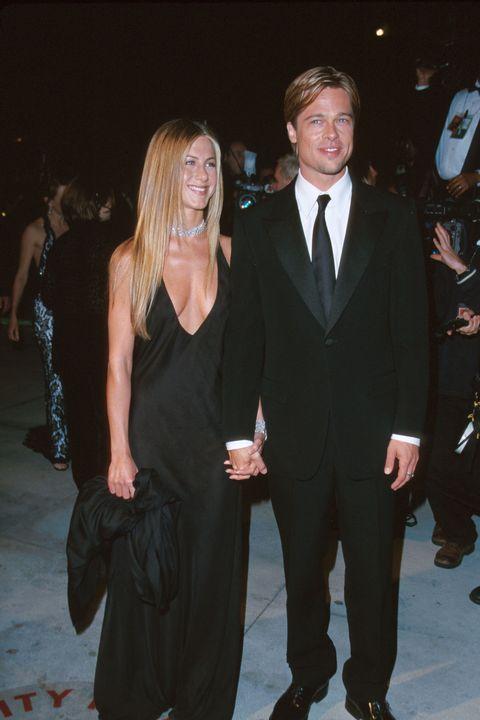 60 Rare Photos Of Brad Pitt Through The Years In 2020 Jennifer Aniston Dress Jennifer Aniston Wedding Jennifer Aniston Wedding Dress