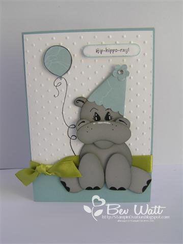 Birthday Hippo punch art - bjl
