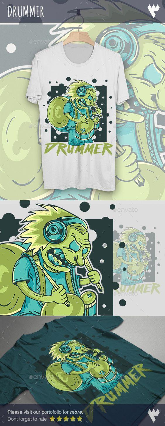 Shirt design eps - Drummer T Shirt Design Eps Template