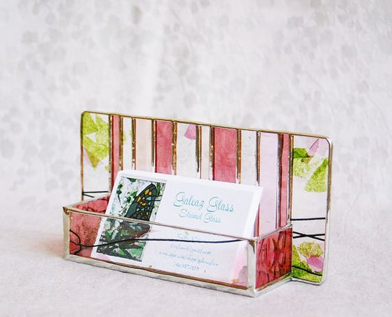 Beautiful piece to show off your business cards! Stained #Glass #Business #Card #Holder #Pink #Green Confetti Dusky Rose Art Glass