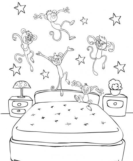 Five Little Monkeys Jumping On The Bed Coloring Pages Monkey