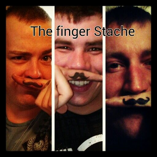 Finger mustache tattoo