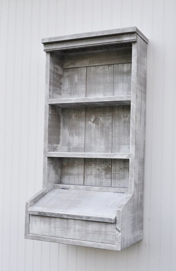 Rustic Hanging Secretary Wall Cabinet Shelves by OldSoulWoodworks, $275.00