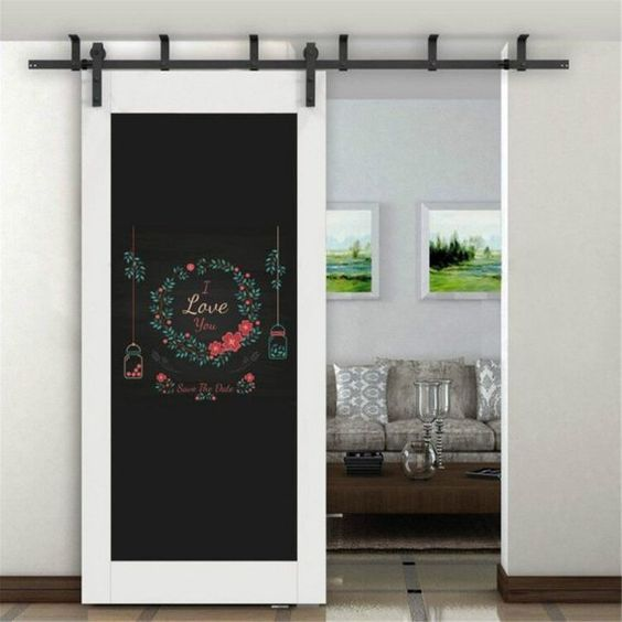 Top Ceiling Mount Black Steel Rustic Modern Sliding Barn door Hardware Wood Closet Door Interior Doo