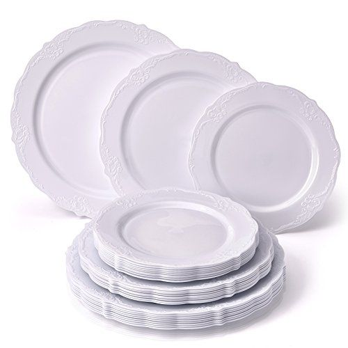 Party Disposable 30pc Dinnerware Set 10 Dinner Plates 10 Salad Plates 10 Dessert Plates Heavyweight Plastic Dishes Fine China Look Upscale Wedding D Elegant Plastic Dinnerware Plastic Dinnerware Sets Plates