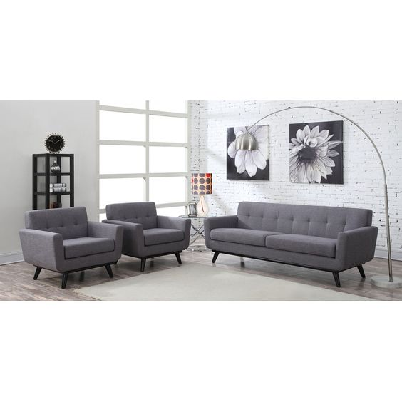 TOV Furniture James Grey Linen Living Room Set TOV-A53-S20S-G