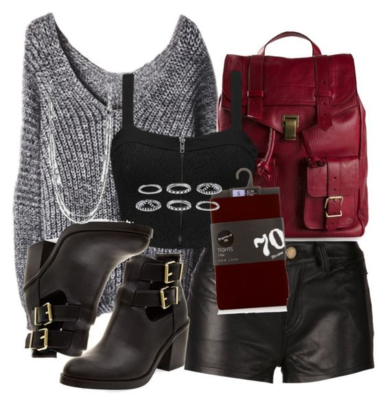 """""""Deadpool Insp. Casual Outfit w/ Leather Shorts and Tights"""" by lauloxx ❤ liked on Polyvore featuring Proenza Schouler, Current/Elliott, Element, Forever 21, ABS by Allen Schwartz, Fall, casual, marvel and deadpool"""