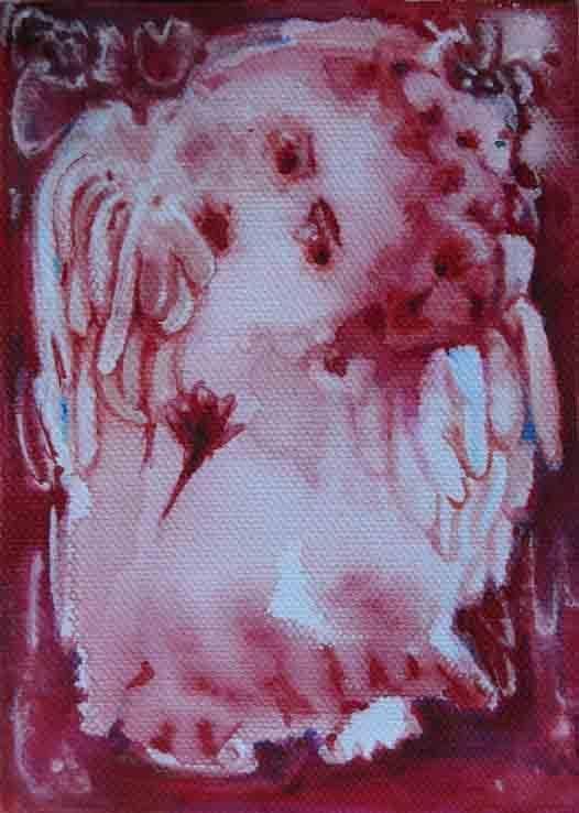 folk art painting original angel watercolor painting on canvas #NaivePrimitive