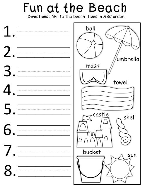 math worksheet : summer abc order!  kinderland collaborative  pinterest  summer  : Abc Order Worksheets Kindergarten