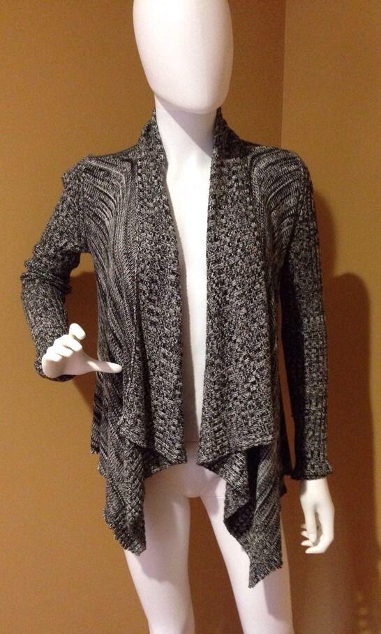 Alice + Olivia Black & White Open Asymmetrical Hem Sweater Size XS #AliceOlivia #OpenSweater