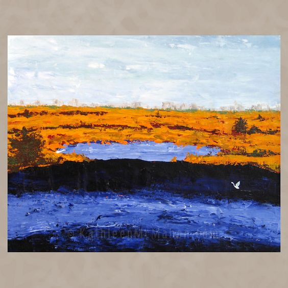 Marsh Egrets, 24x30, acrylic