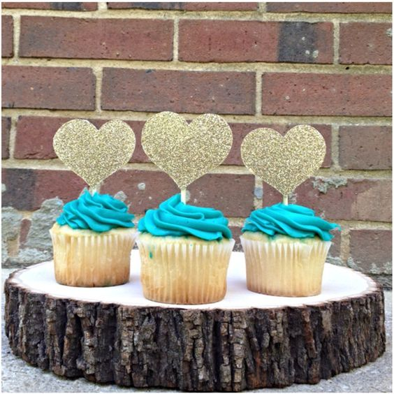 Set of 25 Wedding Sparkle Heart Cupcake Toppers in Your Color ($25) ❤ liked on Polyvore featuring home, home decor, holiday decorations, grey, weddings, heart home decor, gray home decor and grey home decor