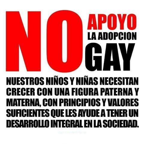 No apoyo la adopción gay, nuestros niños y niñas necesitan crecer con una figura paterna y materna, con principios y valores suficientes que les ayude a tener un desarrollo integral en la sociedad.