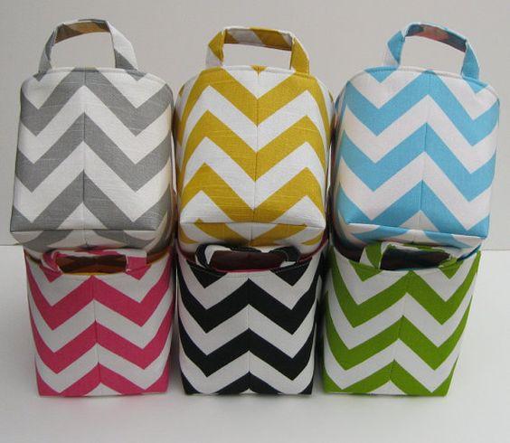 love these for storage. Fabric Organizer Storage Container Basket Bin  Corn by BaffinBags, $18.00