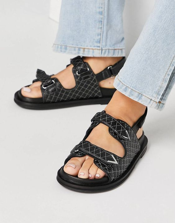 ASRA Sojo quilted chunky grandad sandals in black leather