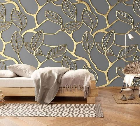 Gold Leaf Wallpaper Wall Painting Living Room Wallpaper Living Room Custom Photo Wallpaper