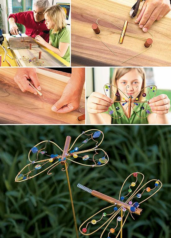 DIY Garden Trinkets • A round-up full of great ideas and tutorials! Including, from 'birds and blooms', this wonderful diy dragonfly garden art project.