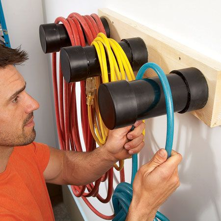 Make hangers from ABS plastic pipe    Hanging electrical cords and hoses on thin hooks or nails can cause kinks and damage the sheathing and wires. Use pieces of 3-in. ABS plastic plumbing pipe to make simple, inexpensive hangers. Could also repurpose similar shaped plastic containers.