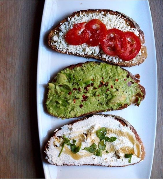 Trio of toasts: goat cheese, tomato - avocado, lemon, chili - ricotta, spiced honey