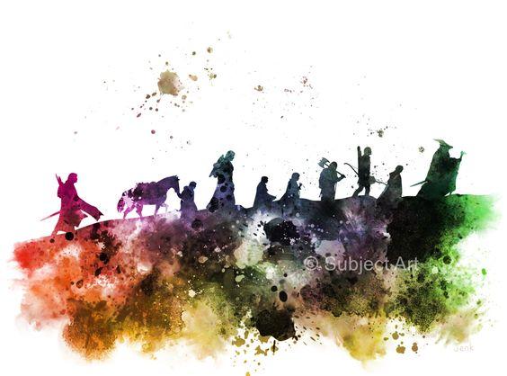 Die Gefährten, Herr der Ringe-KUNSTDRUCK-Illustration, Colour Edition, Home Decor, Wall Art, Fantasy von SubjectArt auf Etsy https://www.etsy.com/de/listing/222817416/die-gefahrten-herr-der-ringe-kunstdruck
