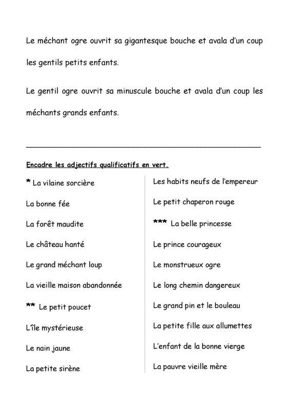 Les Adjectifs Qualificatifs Recherche Google