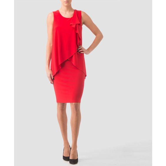 Joseph Ribkoff dress (€245) ❤ liked on Polyvore featuring dresses, red, red dress, lining dress, lined dress, joseph ribkoff and joseph ribkoff dresses