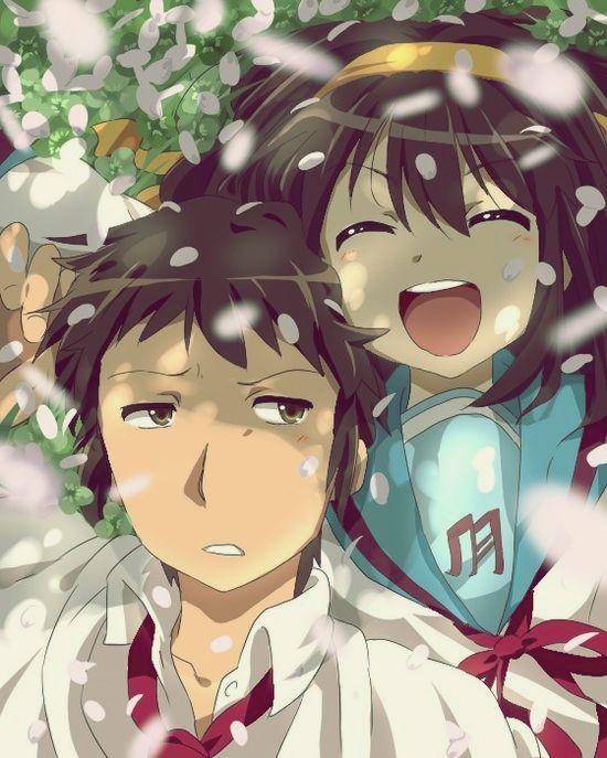 キョンと涼宮ハルヒが桜吹雪の中にいる「涼宮ハルヒの憂鬱」の画像