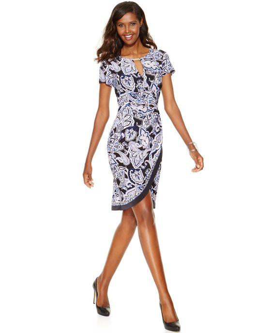 INC International Concepts Printed Tulip-Hem Sheath Dress