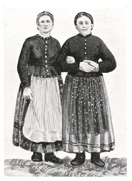 Die Trofailertöchter in Pruggern bei Schladming mit einreihigen Schlawankern - um 1875