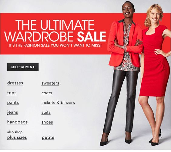The Ultimate Wardrobe Sale, it's the Fashion Sale You Won't Want to Miss! Shop Women