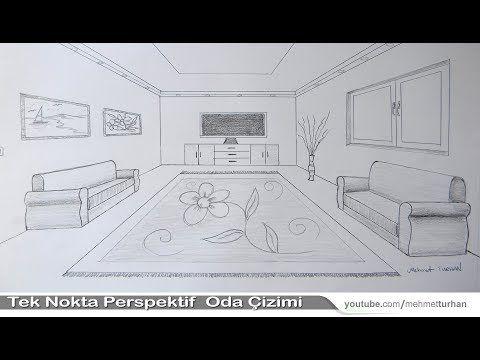 Oda çizimi Tek Nokta Perspektifli Iç Mekan çizimi How To